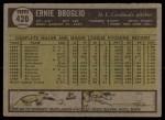1961 Topps #420  Ernie Broglio  Back Thumbnail
