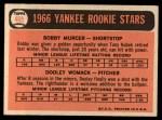 1966 Topps #469  Yankees Rookies  -  Bobby Murcer / Dooley Womack Back Thumbnail