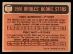 1966 Topps #442  Orioles Rookies  -  Eddie Watt / Ed Barnowski Back Thumbnail
