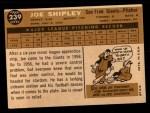 1960 Topps #239  Joe Shipley  Back Thumbnail
