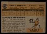 1960 Topps #493  Duke Snider  Back Thumbnail