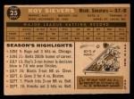 1960 Topps #25  Roy Sievers  Back Thumbnail