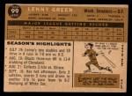 1960 Topps #99   Lenny Green Back Thumbnail