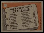 1972 Topps #91  1971 NL ERA Leaders    -  Dave Roberts / Tom Seaver / Don Wilson Back Thumbnail