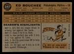 1960 Topps #347  Ed Bouchee  Back Thumbnail
