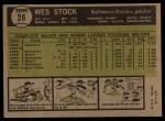 1961 Topps #26  Wes Stock  Back Thumbnail