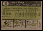 1961 Topps #27   Jerry Kindall Back Thumbnail
