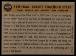 1960 Topps #469  Giants Coaches  -  Wes Westrum / Salty Parker / Bill Posedel Back Thumbnail