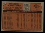 1972 Topps #382   Joe Gibbon Back Thumbnail