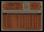 1972 Topps #471   Luke Walker Back Thumbnail