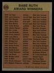 1972 Topps #626  Babe Ruth Award  Back Thumbnail
