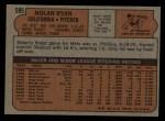 1972 Topps #595   Nolan Ryan Back Thumbnail