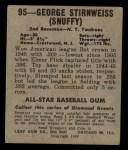 1949 Leaf #95  George Stirnweiss  Back Thumbnail