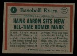 1975 Topps #1  Aaron Sets Homer Mark  -  Hank Aaron Back Thumbnail