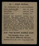 1948 Bowman #36   Stan Musial Back Thumbnail