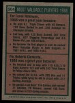 1975 Topps #204  1966 MVPs  -  Frank Robinson / Roberto Clemente Back Thumbnail