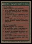 1975 Topps #193   -  Yogi Berra / Roy Campanella 1955 MVPs Back Thumbnail