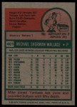 1975 Topps #401  Mike Wallace  Back Thumbnail