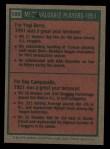 1975 Topps #189  1951 MVPs  -  Yogi Berra / Roy Campanella Back Thumbnail