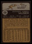 1973 Topps #238   Tony Muser Back Thumbnail