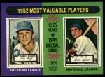 1975 Topps #190  1952 MVPs  -  Bobby Shantz / Hank Sauer Front Thumbnail