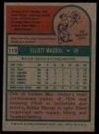 1975 Topps #113  Elliott Maddox  Back Thumbnail