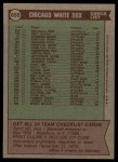 1976 Topps #656  White Sox Team Checklist  -  Chuck Tanner Back Thumbnail