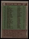 1976 Topps #118  Red Sox Team Checklist  -  Darrell Johnson Back Thumbnail