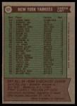 1976 Topps #17  Yankees Team Checklist  -  Billy Martin Back Thumbnail