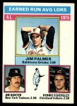 1976 Topps #202  AL ERA Leaders    -  Jim Palmer / Catfish Hunter / Dennis Eckersley Front Thumbnail