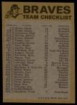 1974 Topps Red Team Checklists #1  Braves Team Checklist  -       Back Thumbnail