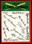 1974 Topps Red Team Checklists #23  Cardinals Team Checklist  -     Front Thumbnail