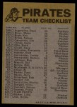 1974 Topps Red Team Checklists #20   Pirates Team Checklist Back Thumbnail