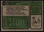 1974 Topps #613   Dan Monzon Back Thumbnail