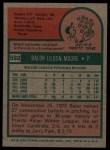 1975 Topps #592   Balor Moore Back Thumbnail