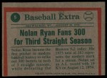 1975 Topps #5  Ryan Fans 300 - 3rd Year in Row  -  Nolan Ryan Back Thumbnail