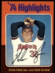 1975 Topps #5  Ryan Fans 300 - 3rd Year in Row  -  Nolan Ryan Front Thumbnail