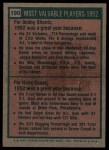 1975 Topps #190  1952 MVPs  -  Bobby Shantz / Hank Sauer Back Thumbnail