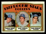 1972 Topps #198  Dodgers Rookies    -  Charlie Hough / Bob O'Brien / Mike Strahler Front Thumbnail