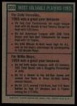 1975 Topps #203  1965 MVPs  -  Zoilo Versalles / Willie Mays Back Thumbnail