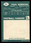 1960 Topps #54  Paul Hornung  Back Thumbnail