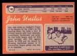 1970 Topps #180   Johnny Unitas Back Thumbnail