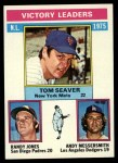 1976 Topps #199  NL Victory Leaders    -  Tom Seaver / Randy Jones / Andy Messersmith Front Thumbnail