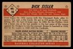1953 Bowman Black and White #10   Dick Sisler Back Thumbnail