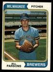 1974 Topps #574   Bill Parsons Front Thumbnail