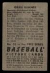 1952 Bowman #35   Granny Hamner Back Thumbnail
