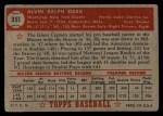1952 Topps #351  Al Dark  Back Thumbnail