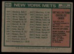 1975 Topps #421   -  Yogi Berra Mets Team Checklist Back Thumbnail