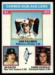 1976 Topps #202  AL ERA Leaders    -  Jim Palmer / Catfish Hunter / Dennis Eckersley Front Thumbnail