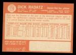 1964 Topps #170  Dick Radatz  Back Thumbnail